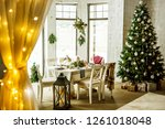 decorated table with baked duck ... | Shutterstock . vector #1261018048