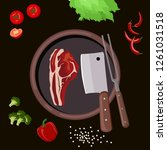 roasted beef isolated vector.... | Shutterstock .eps vector #1261031518