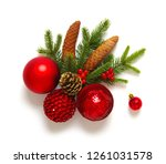 christmas decoration baubles... | Shutterstock . vector #1261031578