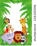 jungle animals frame with copy... | Shutterstock .eps vector #126103346