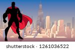 silhouette of superhero... | Shutterstock .eps vector #1261036522