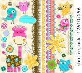 cute giraffe and birds... | Shutterstock .eps vector #126105596