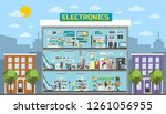electronics center mall in... | Shutterstock . vector #1261056955