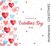 happy valentines day   hand... | Shutterstock .eps vector #1261075492