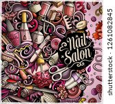 nail salon hand drawn vector... | Shutterstock .eps vector #1261082845