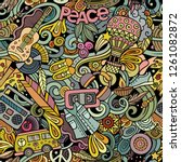 hippie hand drawn doodles... | Shutterstock .eps vector #1261082872
