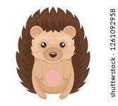 cute hedgehog animal cartoon...   Shutterstock .eps vector #1261092958