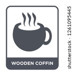 wooden coffin icon vector on... | Shutterstock .eps vector #1261095445