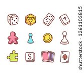 board game icons in hand drawn... | Shutterstock .eps vector #1261103815