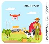 smart farming. agricultural... | Shutterstock .eps vector #1261129498