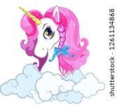 cartoon white pony unicorn head ... | Shutterstock .eps vector #1261134868