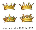 golden crown mascot with... | Shutterstock .eps vector #1261141198