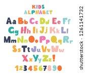 children's font in the cartoon... | Shutterstock .eps vector #1261141732