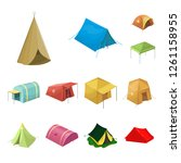 isolated object of tent  and... | Shutterstock .eps vector #1261158955