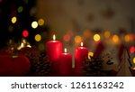 big festive candles burning... | Shutterstock . vector #1261163242