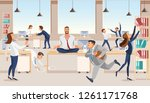 practicing yoga at workplace... | Shutterstock .eps vector #1261171768