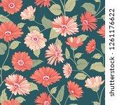 floral pattern. flower marigold ... | Shutterstock .eps vector #1261176622