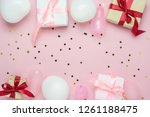 table top view of birthday... | Shutterstock . vector #1261188475