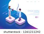 isometric banner virtual... | Shutterstock .eps vector #1261211242