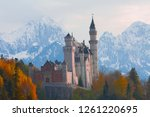 the famous neuschwanstein... | Shutterstock . vector #1261220695