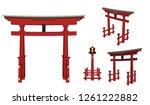 vector gate pillar of japan | Shutterstock .eps vector #1261222882