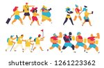 group of tourists walking... | Shutterstock .eps vector #1261223362