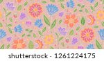 doodle flowers in vintage style ... | Shutterstock .eps vector #1261224175