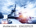 forklift handling container box ... | Shutterstock . vector #1261229125
