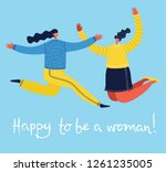 happy to be a woman. vector... | Shutterstock .eps vector #1261235005