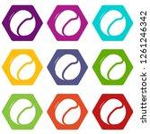 tennis ball icons 9 set coloful ...   Shutterstock . vector #1261246342
