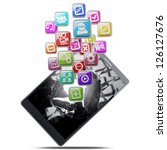 Tablet with color application icons isolated on white background. high resolution 3d illustration - stock photo