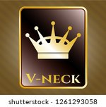 golden badge with queen crown... | Shutterstock .eps vector #1261293058