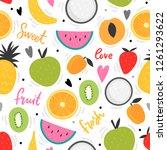fruits seamless pattern for... | Shutterstock .eps vector #1261293622