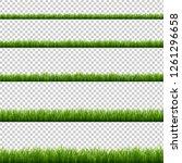 green grass big set transparent ... | Shutterstock .eps vector #1261296658