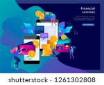 cryptocurrency and blockchain...   Shutterstock .eps vector #1261302808