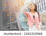 beautiful girl happy with uv... | Shutterstock . vector #1261313068