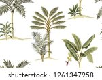 tropical vintage palm trees ... | Shutterstock .eps vector #1261347958