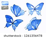 Stock photo collection of blue butterflies in watercolor an isolated drawing of an animal handmade 1261356478