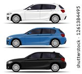 realistic cars set. hatchback.... | Shutterstock .eps vector #1261384495