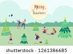 merry christmas  happy...   Shutterstock .eps vector #1261386685
