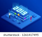 isometric business new year... | Shutterstock .eps vector #1261417495