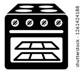 oven with glass icon. simple... | Shutterstock . vector #1261424188