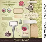 scrapbooking kit  gardening  ... | Shutterstock .eps vector #126142592