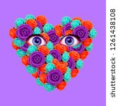 minimal visual collage art.... | Shutterstock . vector #1261438108