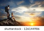 two tourists with backpacks... | Shutterstock . vector #126144986