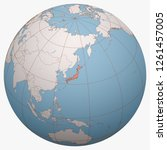 japan on the globe. earth... | Shutterstock .eps vector #1261457005