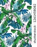 tropical seamless pattern.... | Shutterstock .eps vector #1261458082