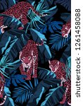 seamless pattern. jaguars and a ... | Shutterstock .eps vector #1261458088