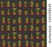 seamless pattern with succulents | Shutterstock . vector #1261458145