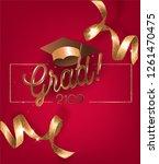 graduation 2019 invitation red... | Shutterstock .eps vector #1261470475